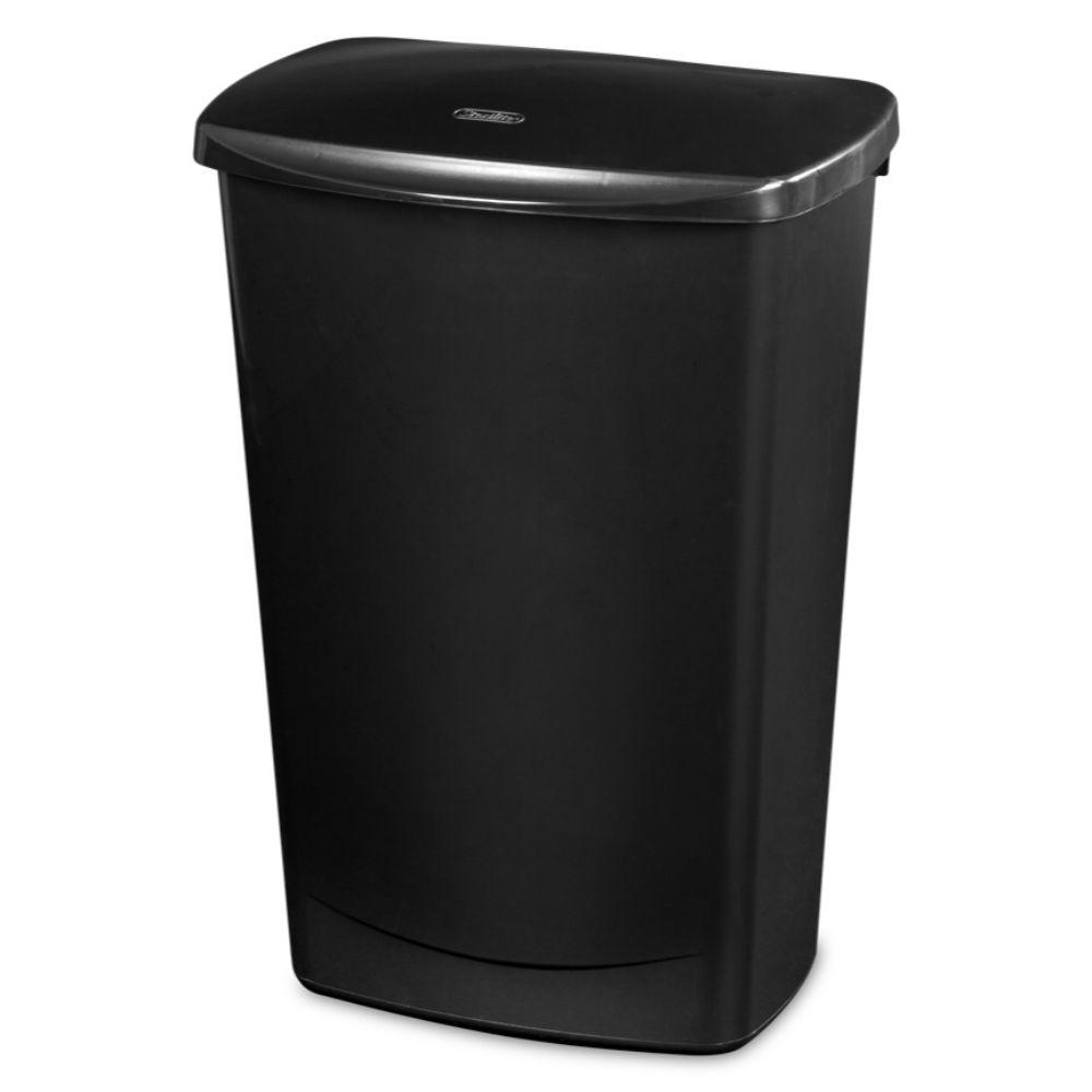 Sterilite, Lift-Top wastebasket black, 44 qt
