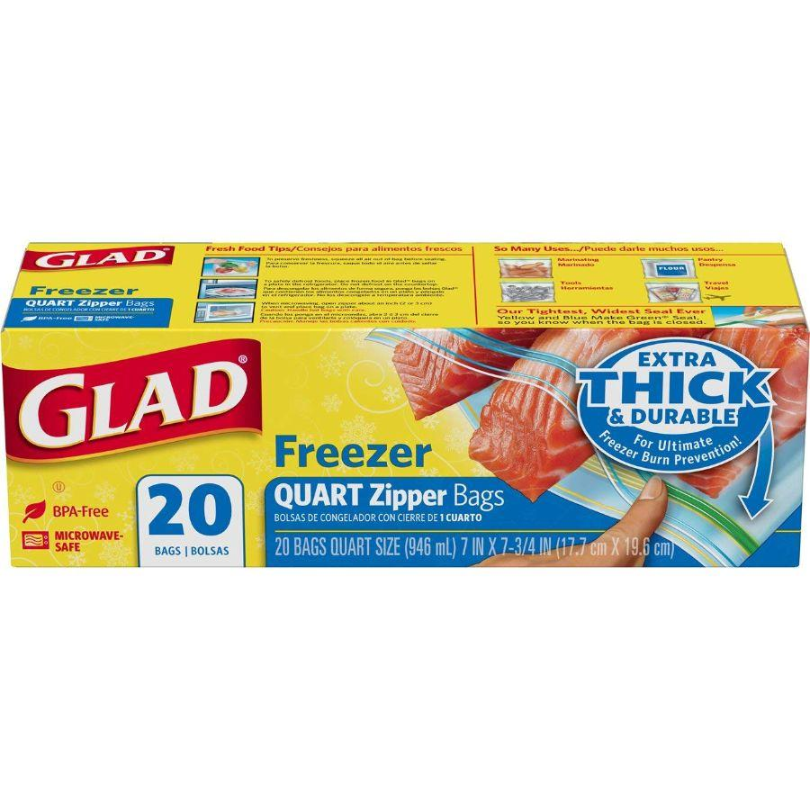 Glad Freezer Quart Size Zipper Bags, 20 ct