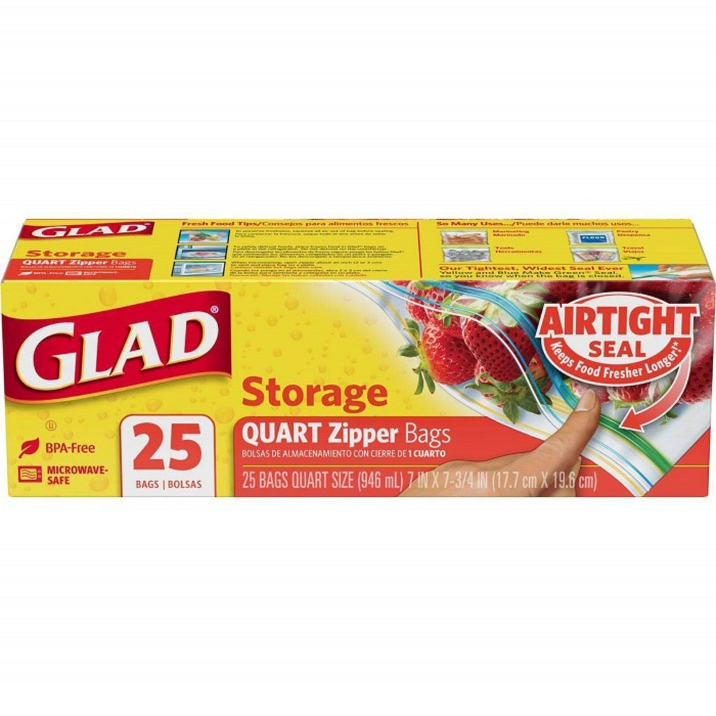 Glad, Storage Quart Zipper Bags, 25 ct