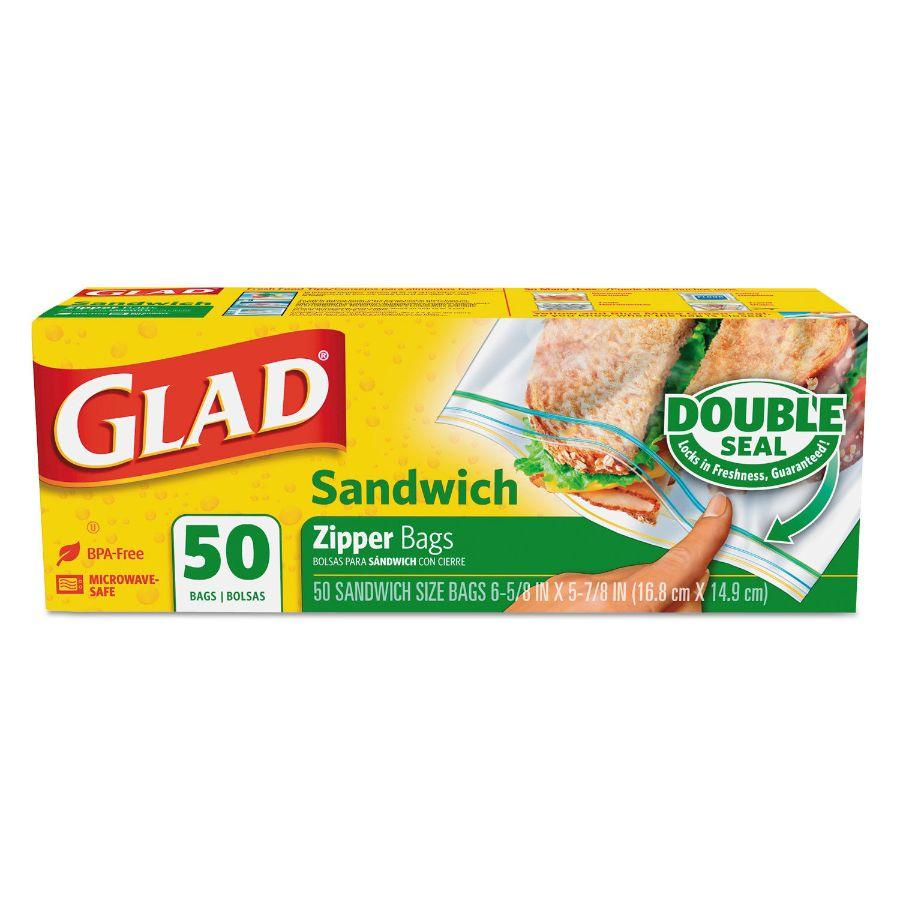 Glad Sandwich Zipper Bags, 50 ct