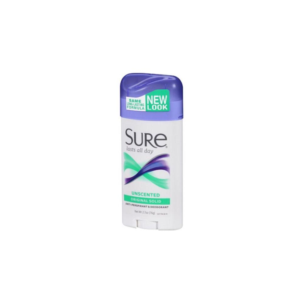 Sure, Unscented Original Solid Deodorant, 2.7 oz