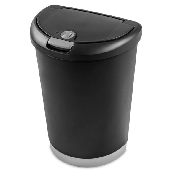 Sterilite, Locking Top Wastebasket Black, 12.3 Gal