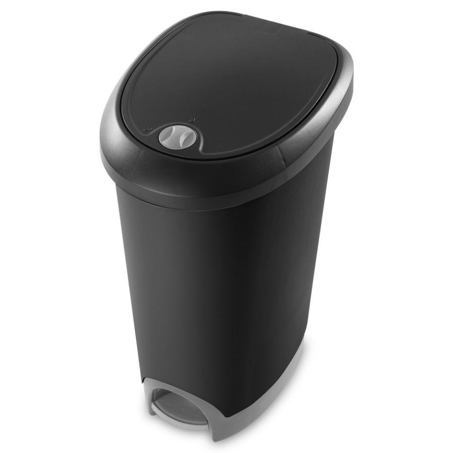Sterilite Lock Step On Waste basket Black, 12.6 Gal