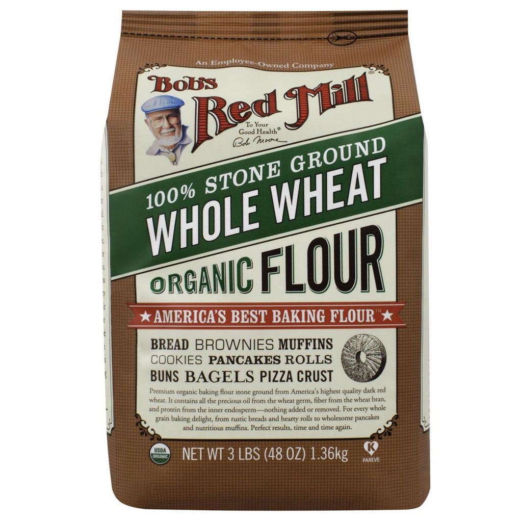 Bob's Red Mill, Organic Whole Wheat Flour, 48 oz