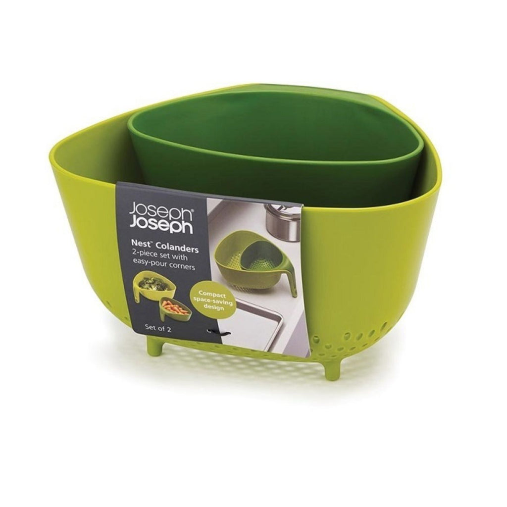 Joseph Joseph, 2 Piece Colanders Set With Easy-Pour Corners, Green