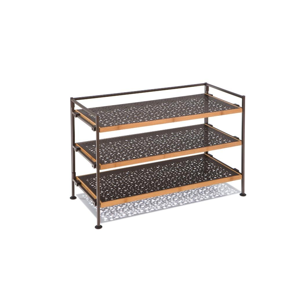 Seville Classics, Metal and Bamboo, Storage & Shoe Rack 3-Tier