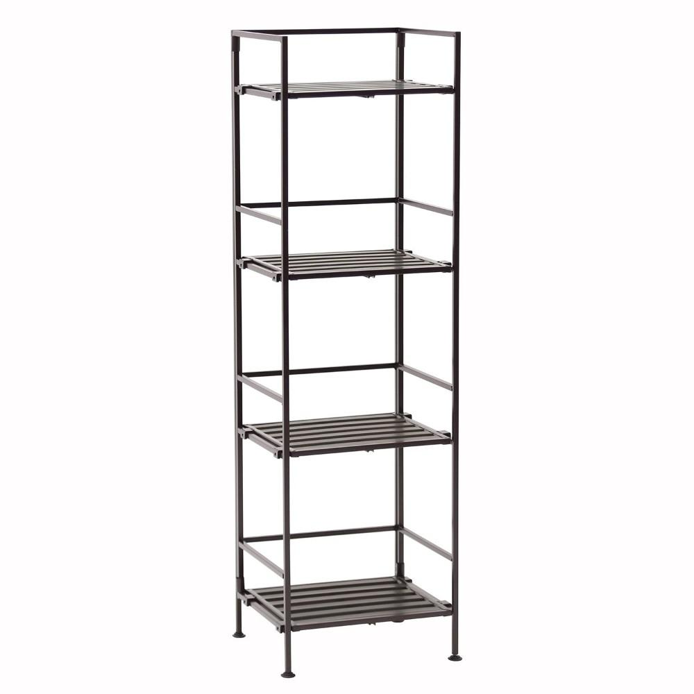 Seville Classics, 4-Tier Resin Slat Square Tower Shelving, Espresso