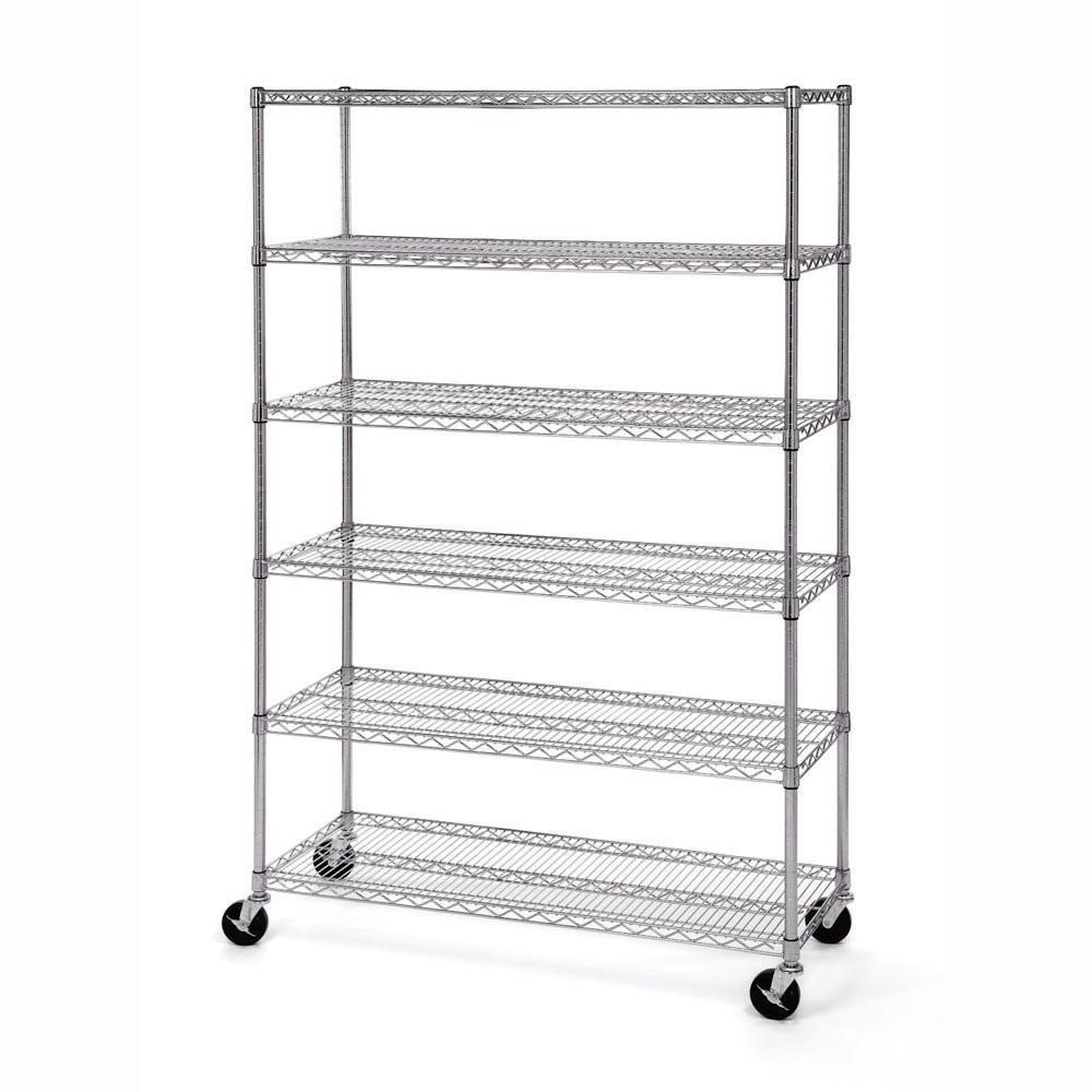 Seville Classics, 6-Tier UltraZinc Wire Shelving with Wheels , 120x45 cm