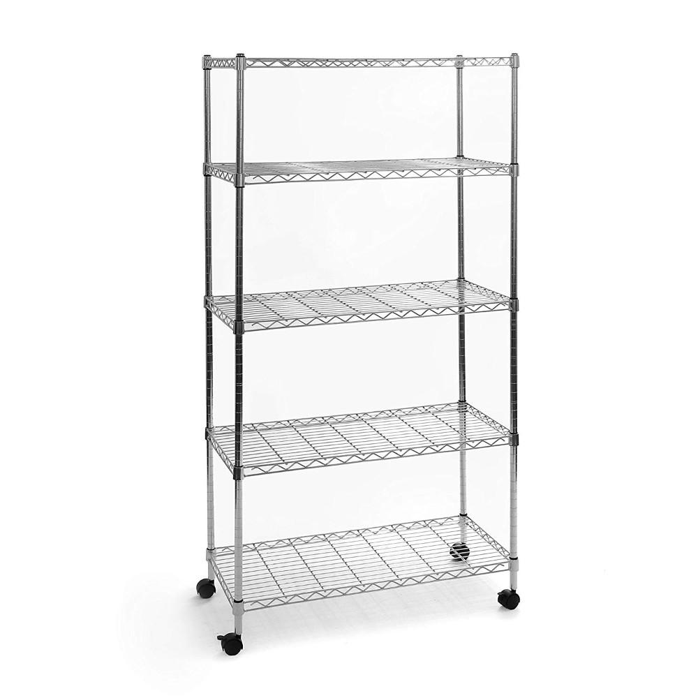 Seville Classics, 5-Tier Steel Wire Shelving with Wheels, 150x45 cm