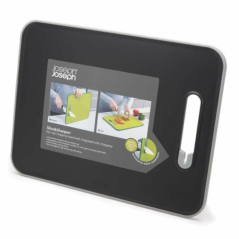Joseph Joseph Slice & Sharpen Non-slip Chopping Board, Black