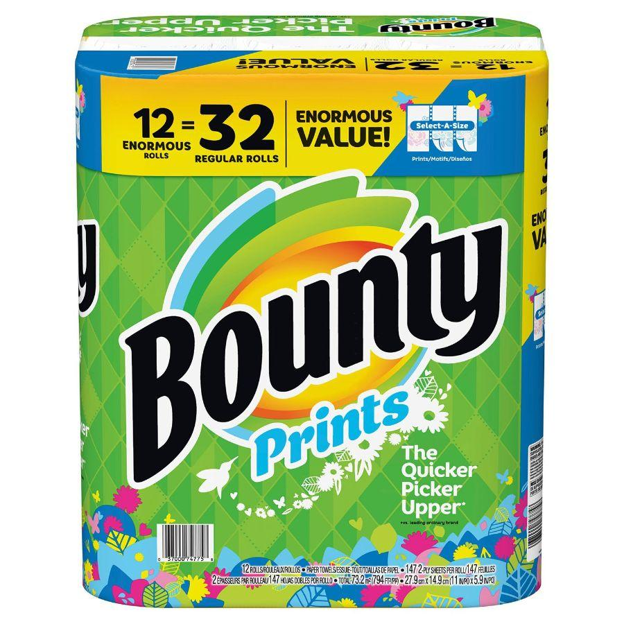 Bounty Printed 147 Tissues, 12 Rolls
