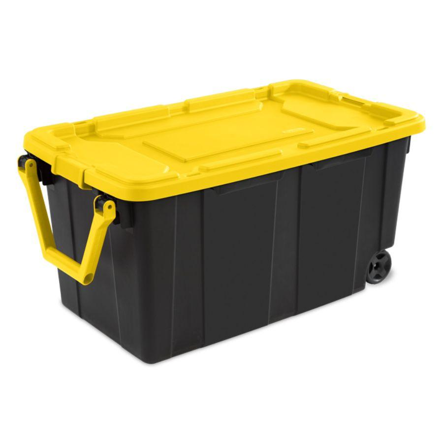 Sterilite Wheeled Industrial Tote Yellow, 40 Gal