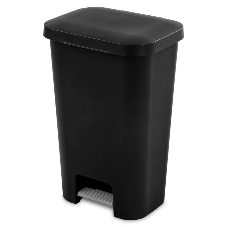 Sterilite Step On Waste Basket Black, 11.9 Gal