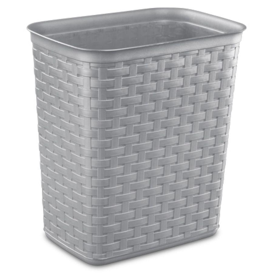 Sterilite Weave Waste Basket Grey, 3.4 Gal