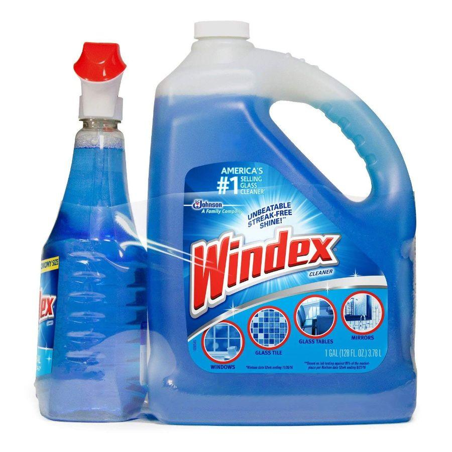 Windex Glass Cleaner, 176 oz + Refill 28 oz