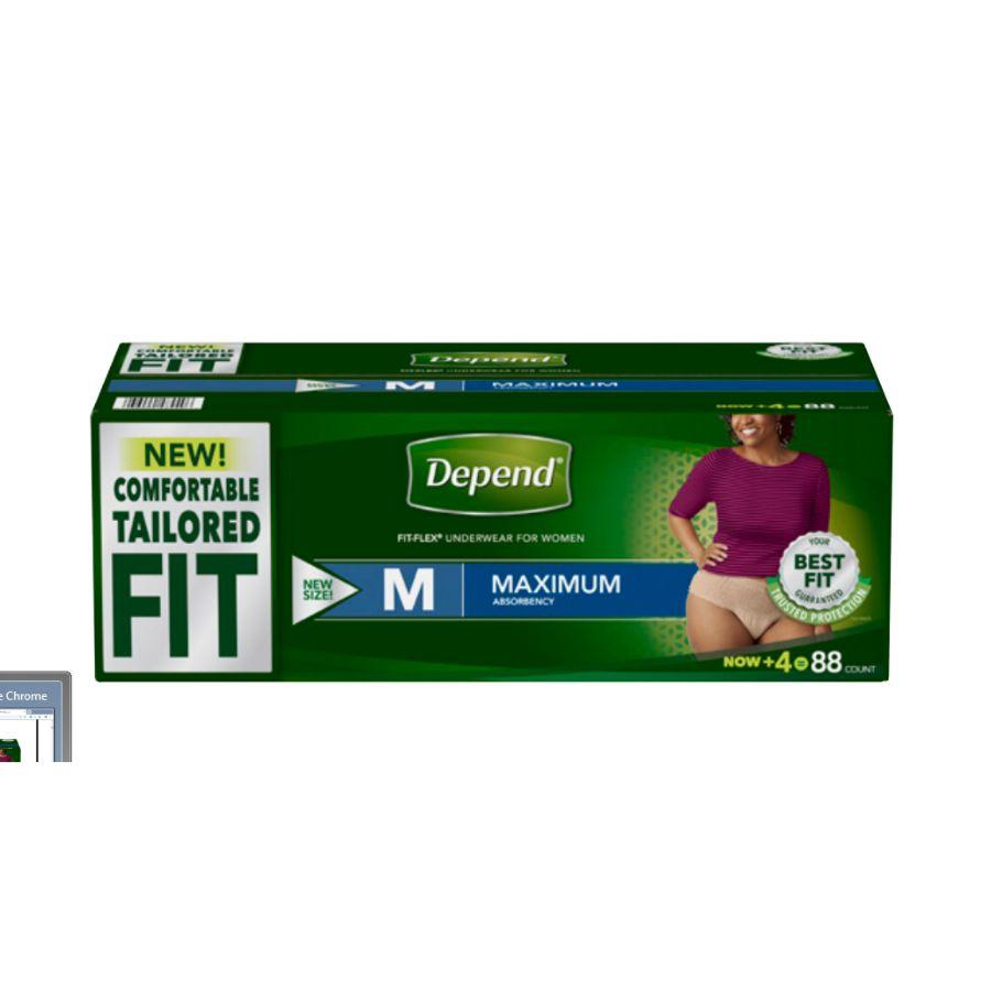 Depend Women Underwear Max Absorbency Medium, 88 ct