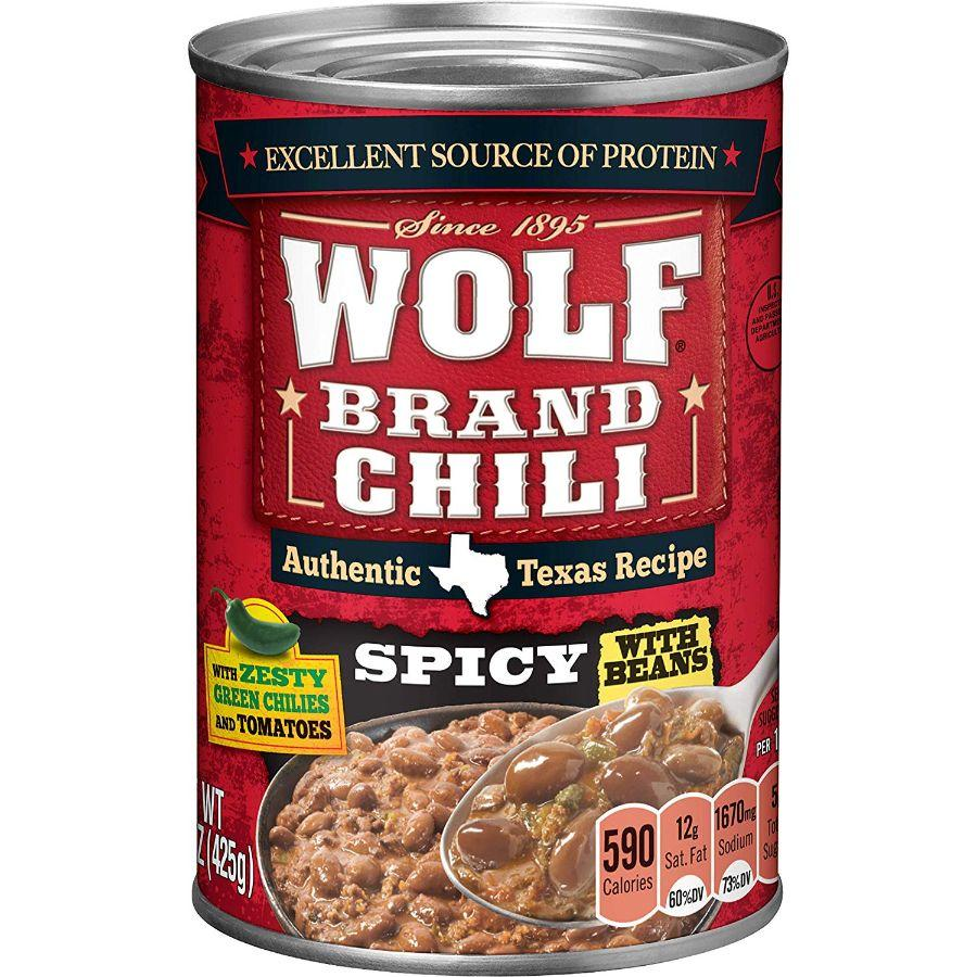 Wolf Spicy Chili with Beans, 15 oz