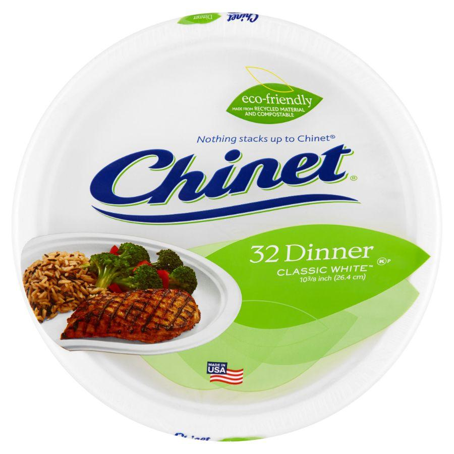 Chinet Dinner Plates Disposable, 32 ct