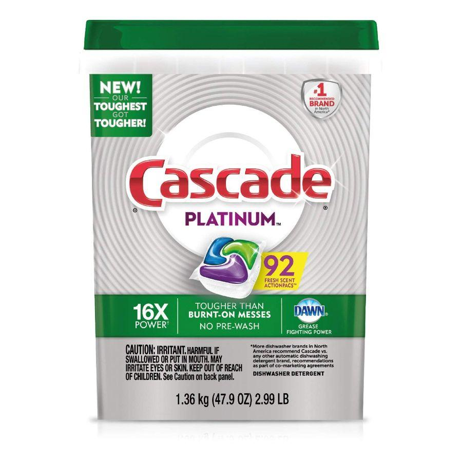 Cascade Platinum ActionPacs Dishwasher Detergent, 92 ct
