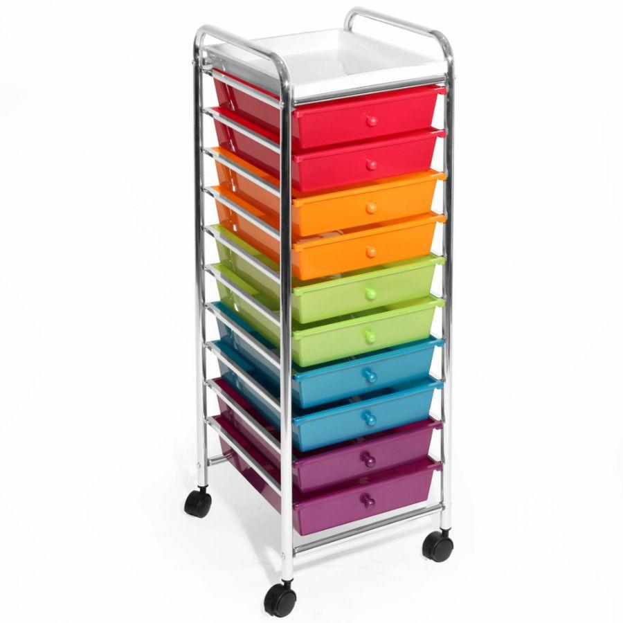 Seville Classics 10-Drawer Organizer Cart, Colored