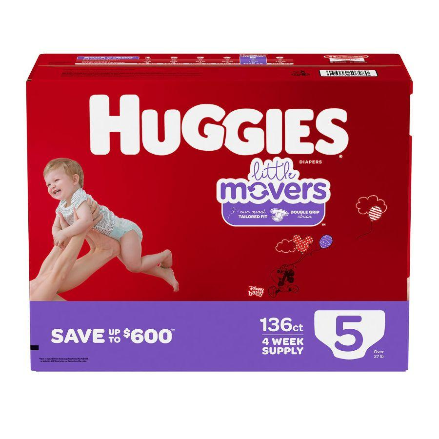 Huggies Little Movers Baby Diapers Size 5, 136 ct