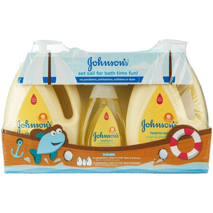 Johnson's Head-To-Toe Wash & Shampoo Set, 2x 33.8 oz + 10.2 oz