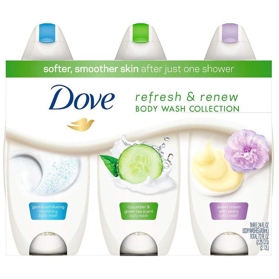 Dove Refresh & Renew Body Wash Collection, 3x 24 oz