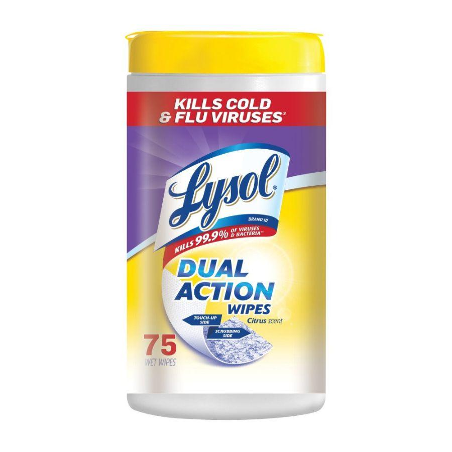 Lysol Dual Action Wipes Citrus, 75 ct