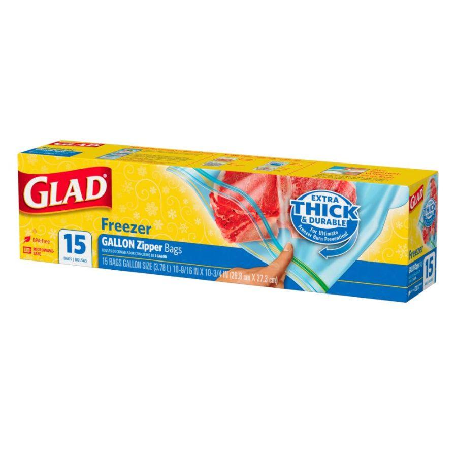 Glad Freezer Gallon Size Zipper Bags, 15 ct