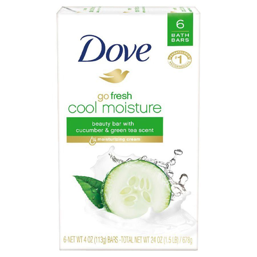 Dove Soap Bar Cool Moist Cucumber & Green Tea, 6 ct