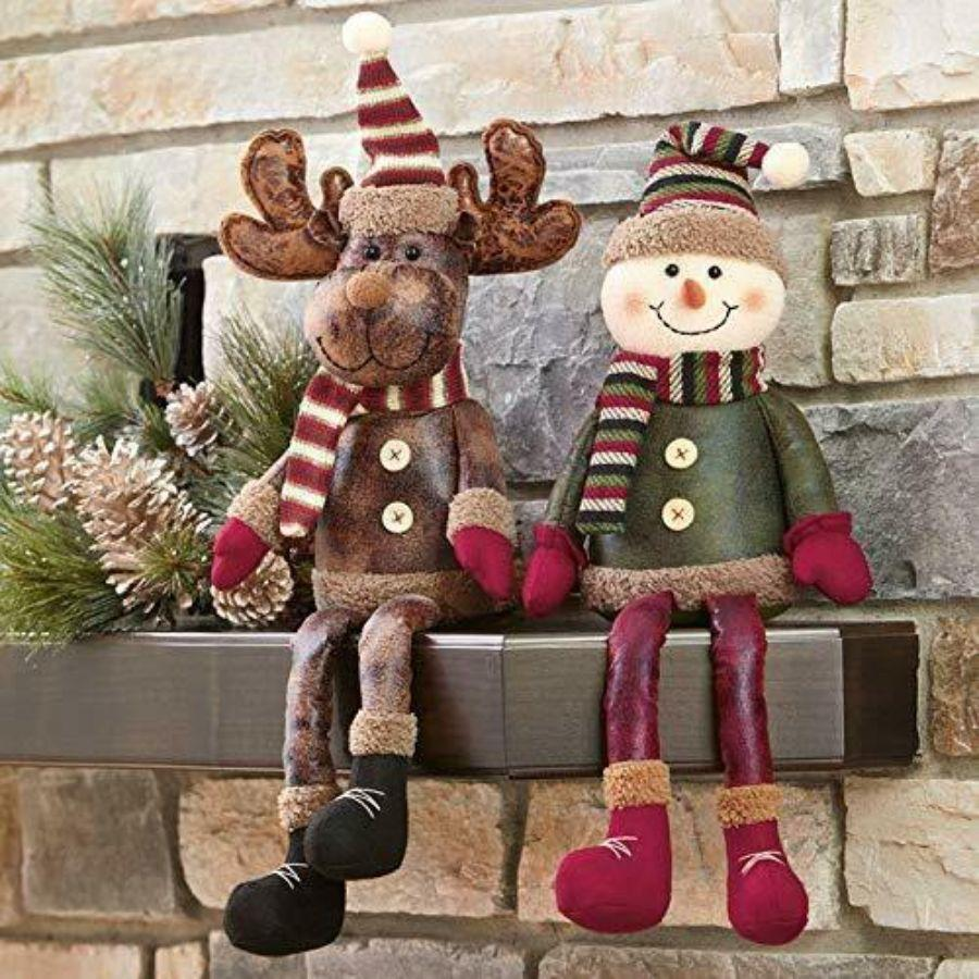 Christmas Leather Self Sitters Moose & Snowman 2Pk