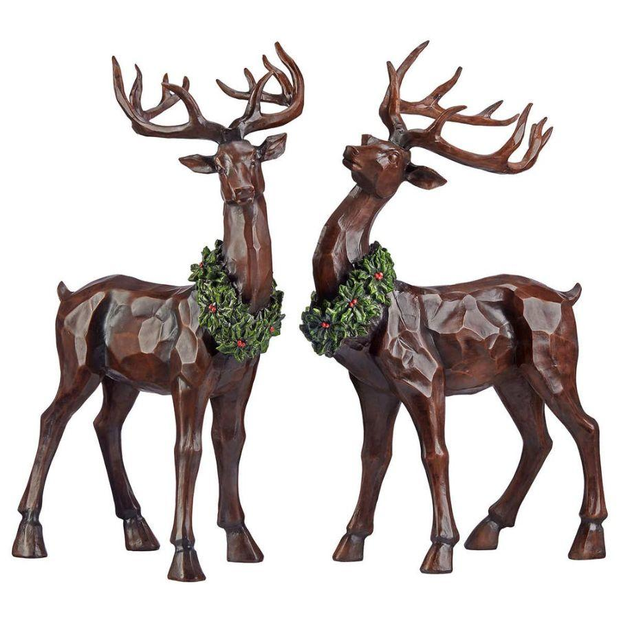 Natures Mark Tabletop Decorative Christmas Reindeer Set of 2, 19 In