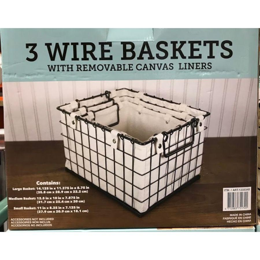 Giftburg 3 Wire Baskets with removable Canvas Liners, 3 pcs