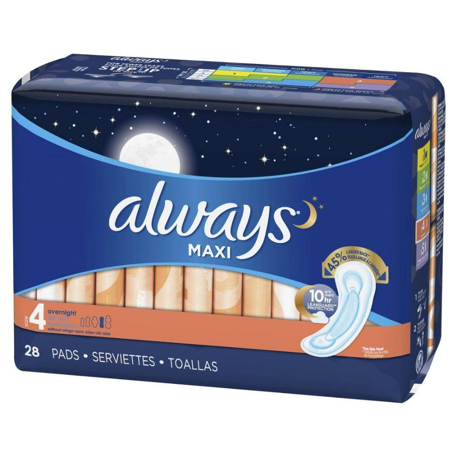 Always Fem Maxi Pads Overnight No Wings, 28 ct