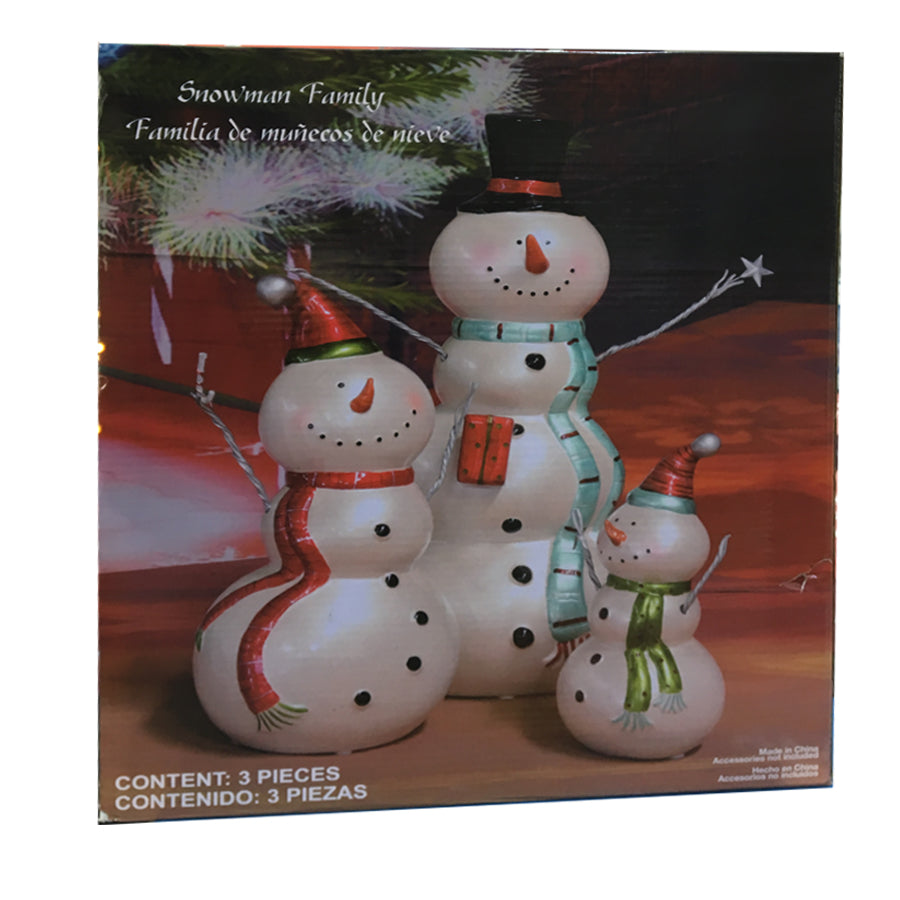 Snowman Family Seasonal Decoration 3 Pcs