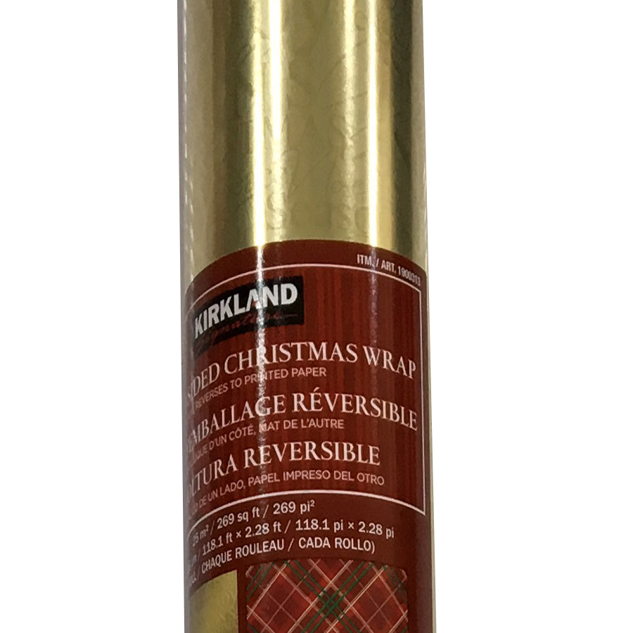 Kirkland Signature Christmas Wrap Double Sided, Gold