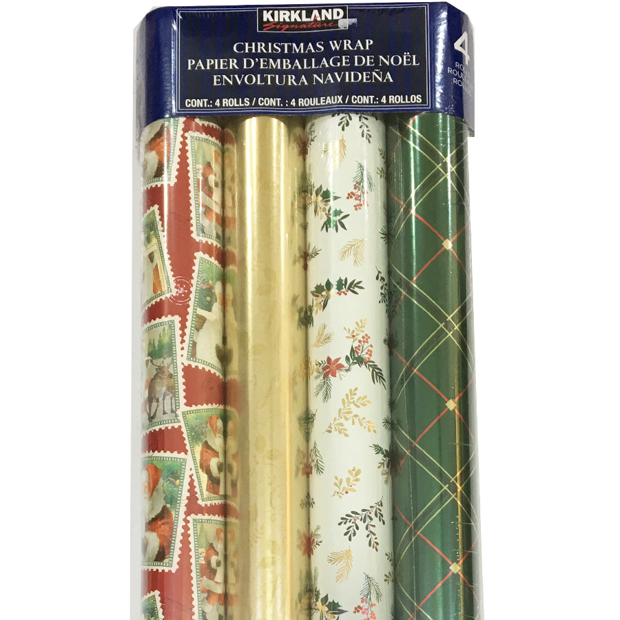 Kirkland Signature Christmas Wrap 4 Rolls, Gold Red
