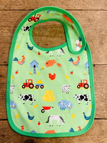 Cotton Bib Green farm print