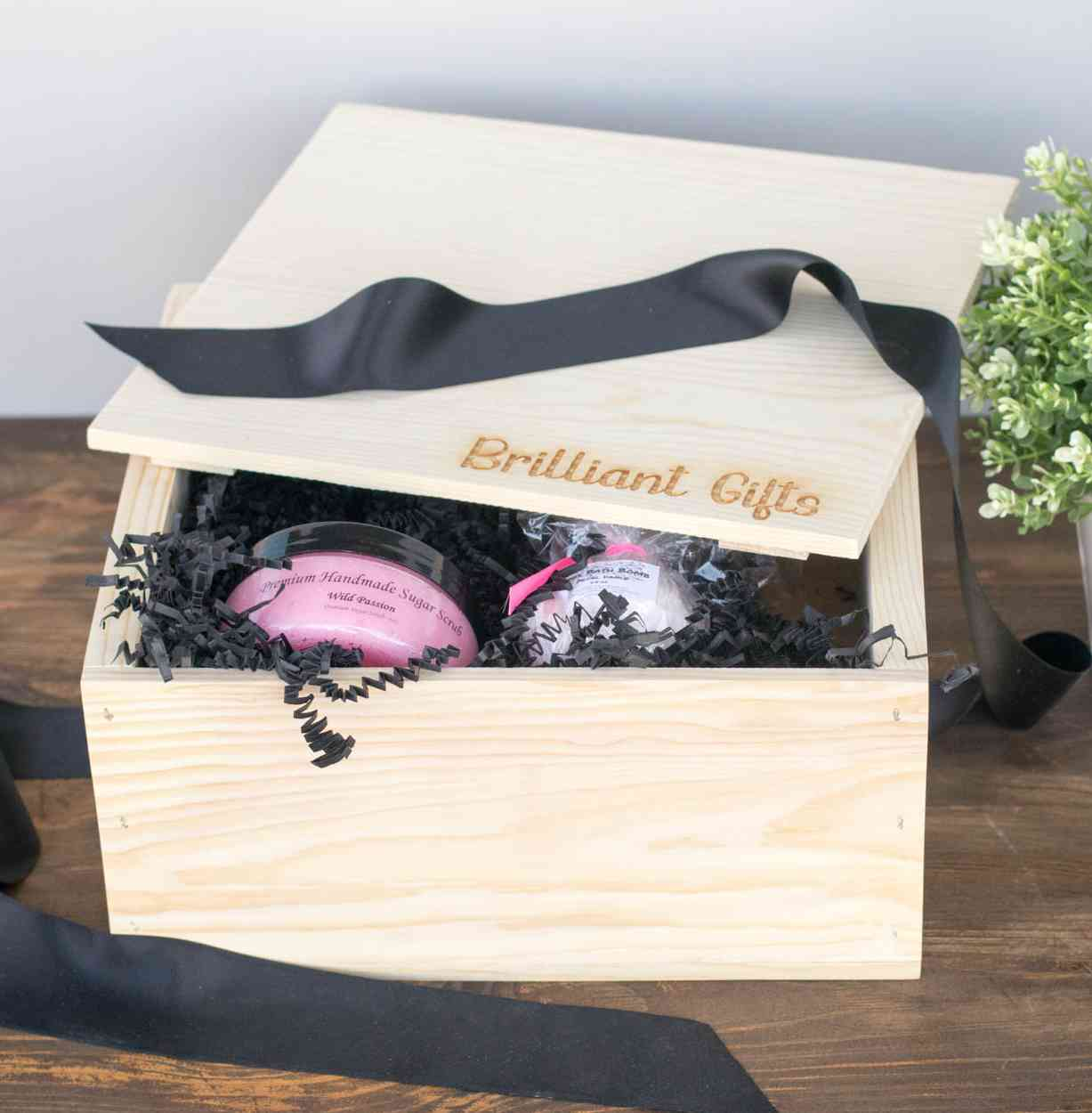 pine gift crate for women