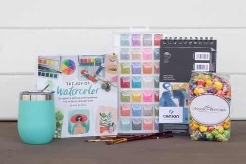Watercolor Gift Basket for Her | BrilliantGifts.com