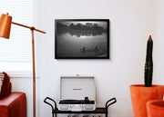Aeron Denver Delos Reyes Fishing In The River - Print Poster DinA3 mit Rahmen (schwarz) - Street Photography