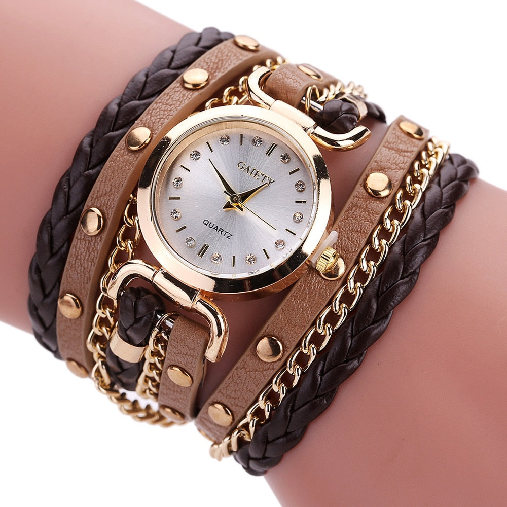 Womens Bracelet Watch Relojes Mujer 2019 Vintage Weave Wrap Quartz PU Leather Wrist Watches kol saati Clock Relogio Feminino