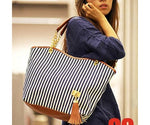 Classy marine striped canvas beach shoulder tote handbag.