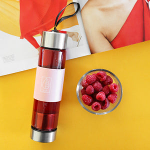 Reusable Glass Water Bottle with Stainless Steel Infuser
