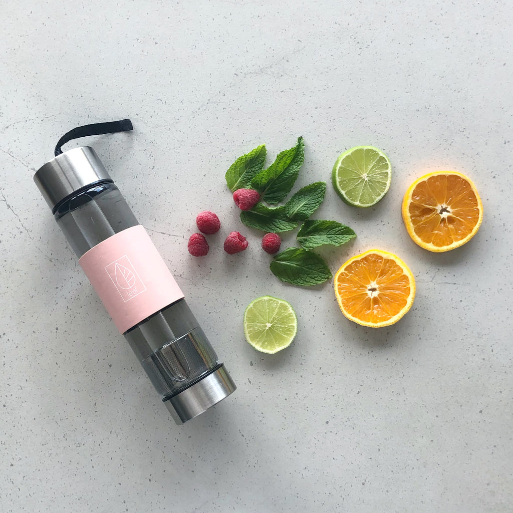 Reusable Glass Water Bottle with Stainless Steel Infuser - Pink