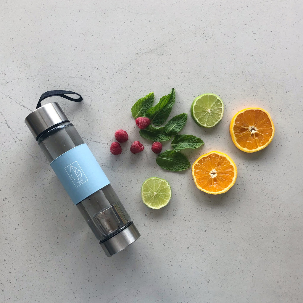 Reusable Glass Water Bottle with stainless steel infuser - Blue