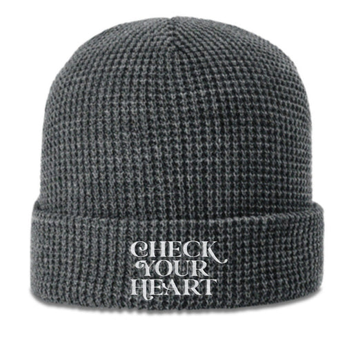 Check Your Heart Waffle Beanie