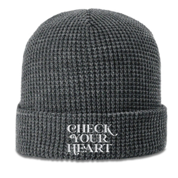 John Crist Comedy Check Your Heart Grey Waffle Beanie