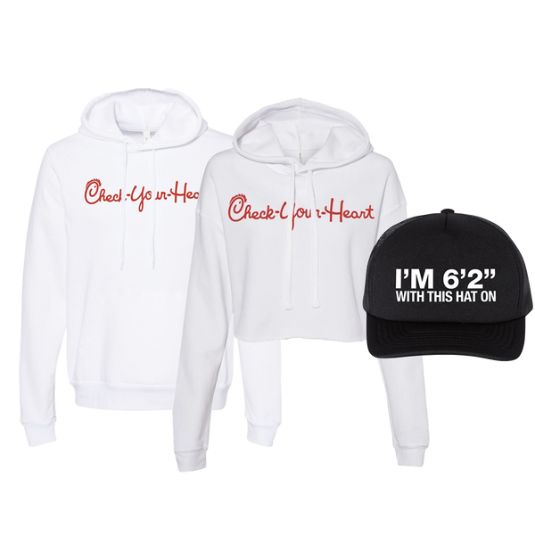 "John Crist Comedy Bundle Check Your Heart White Pullover Hoodie with front pouch pocket, white cropped hoodie, both with white drawstrings and red lettering and I'm 6'2"" With This Hat On Black Baseball Cap"