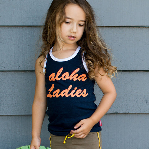 Aloha Ladies - Youth Tank - Navy